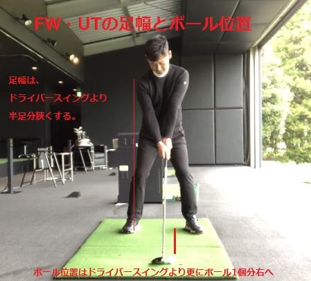 FW・UTの足幅とボール位置